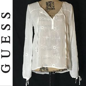 Guess Sheer Eyelet Top w/Ties